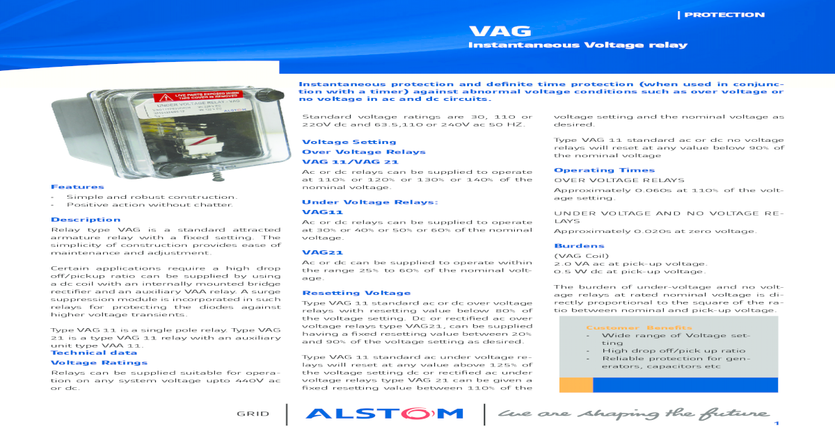 PROTECTION VAG - System Controls & Switc Voltage relay VAG11 ... on