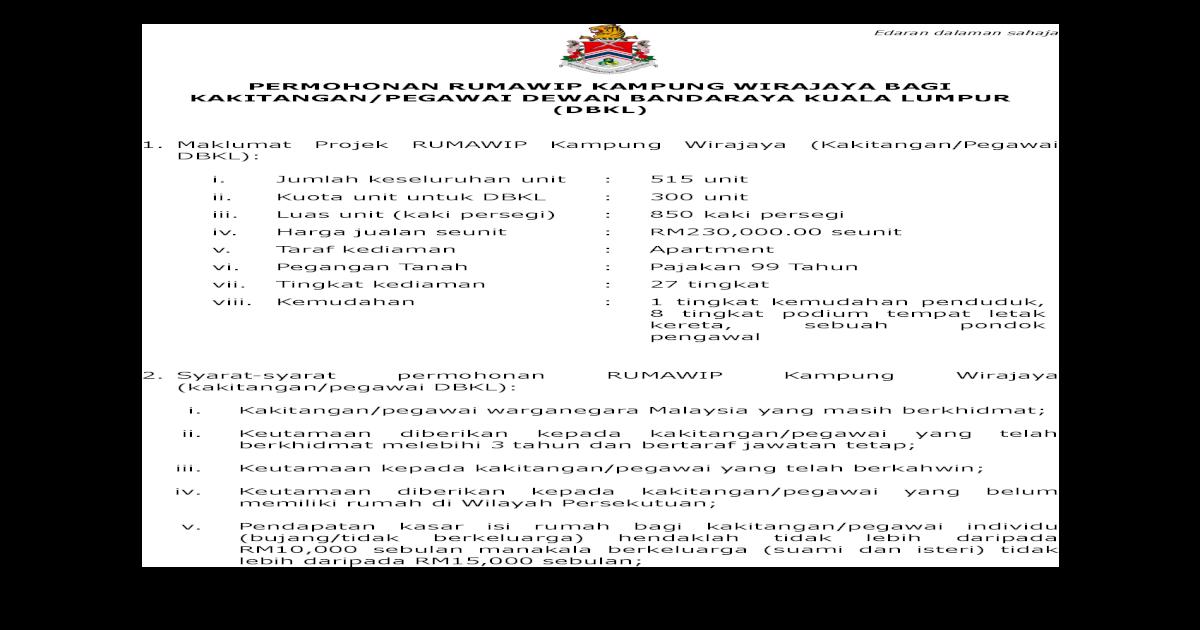 Permohonan Rumawip Kampung Wirajaya Bagi Kakitangan Permohonan Rumedaran Dalaman Sahaja Lampiran I Senarai Semak Permohonan Rumawip Kampung Wirajaya Bagi Kakitangan Pegawai Dewan Bandaraya Kuala Lumpur Bil Item Catatan