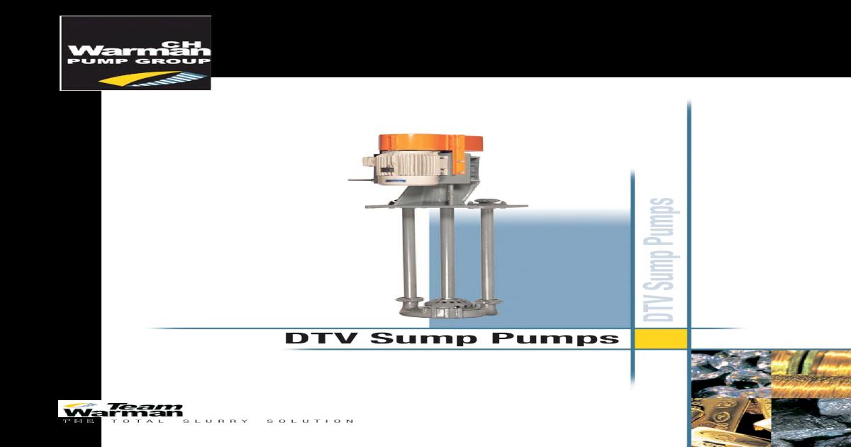 DTV Sump Pumps - Amalgamated Pumping Brochures/TV Sump Pumps