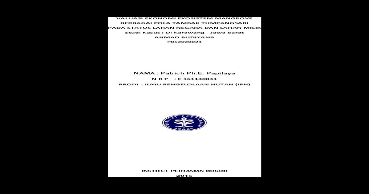 Tugas Review Tesis Tentang Valuasi Ekonomi Mangrove Pdf