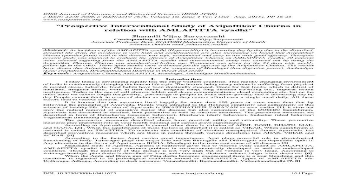 Prospective Interventional Study of Avipattikar Churna in