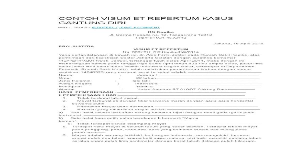 Contoh Visum Et Repertum Kasus Gantung Diri