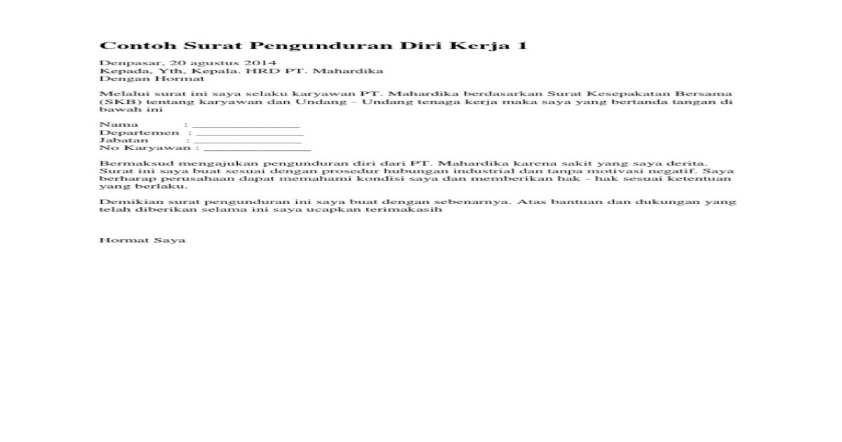 Contoh Surat Pengunduran Diri Kerja 1