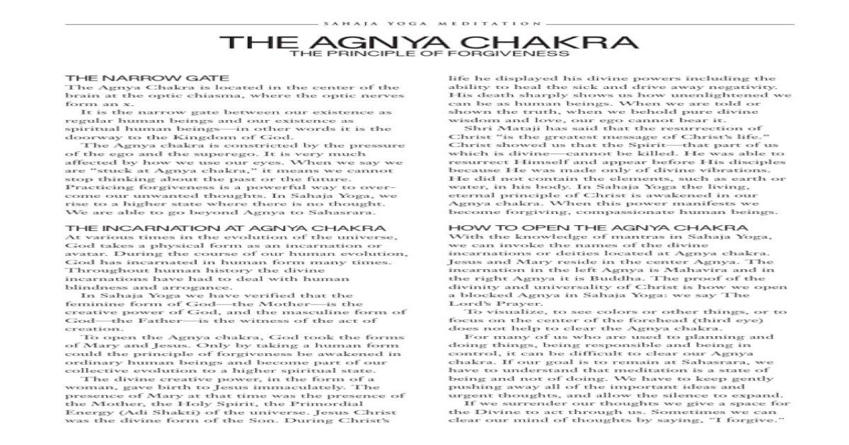 Week15 Agnya Chakra