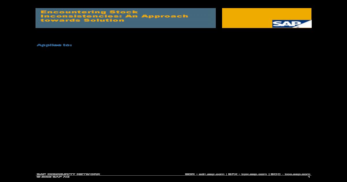 SAP Stock Inconsistency Analysis