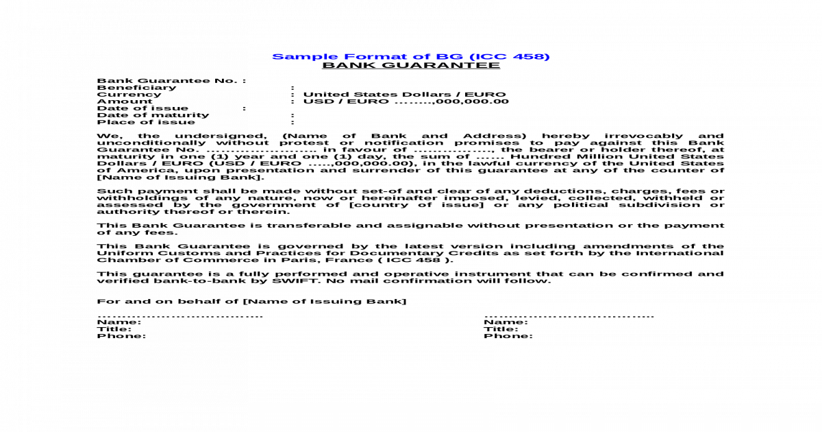 SBLC and BG FORMAT INSTRUMENT