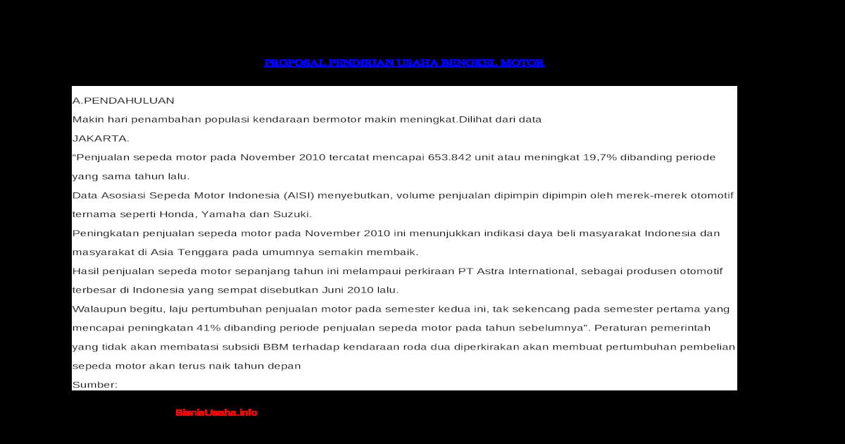 Proposal Usaha Bengkel Motordocx