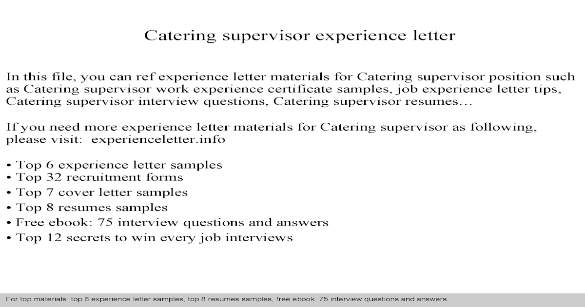 Catering supervisor experience letter