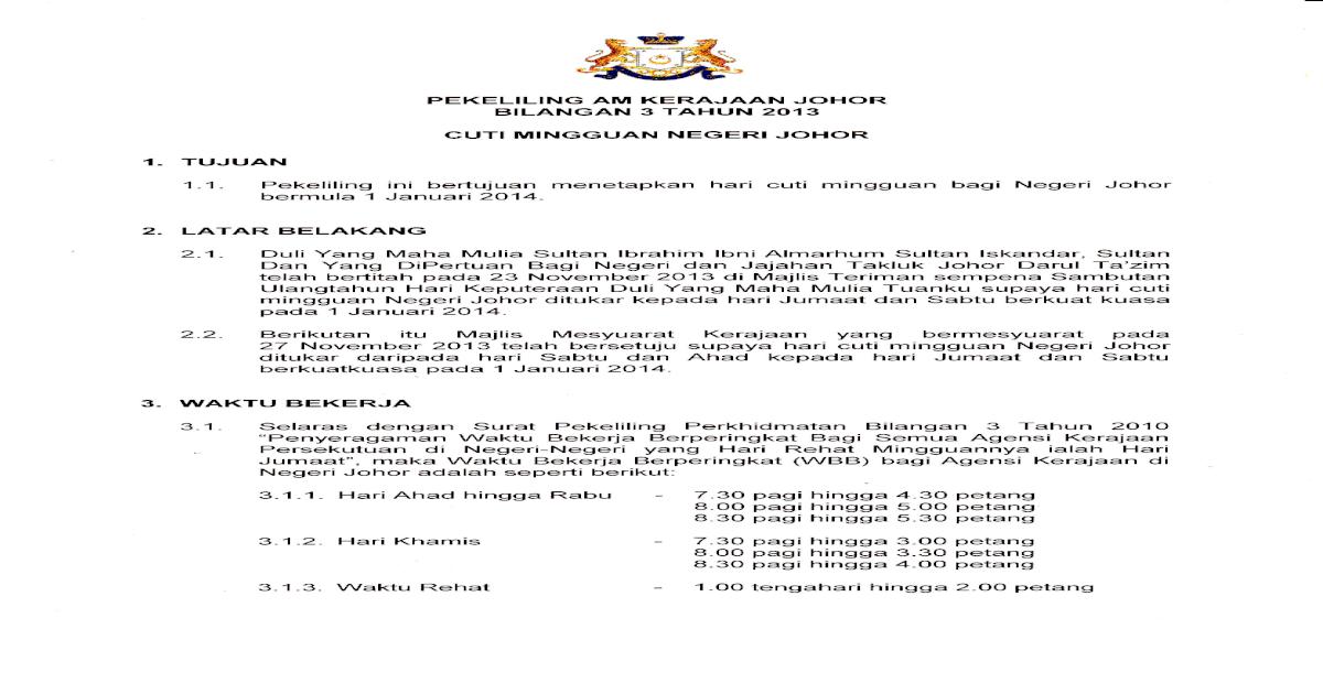 Surat Pekeliling Am Kerajaan Johor Bil 3 Tahun 2013 Cuti