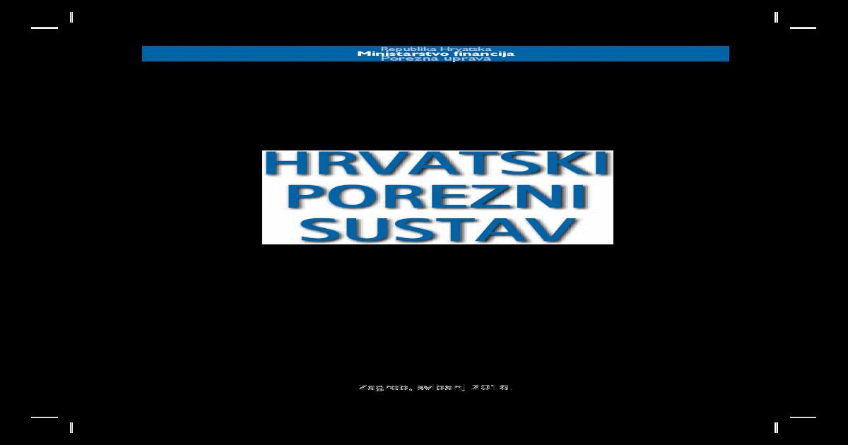 Hrvatski Porezni Sustav Porezna Hrvatski Porezni Sustav