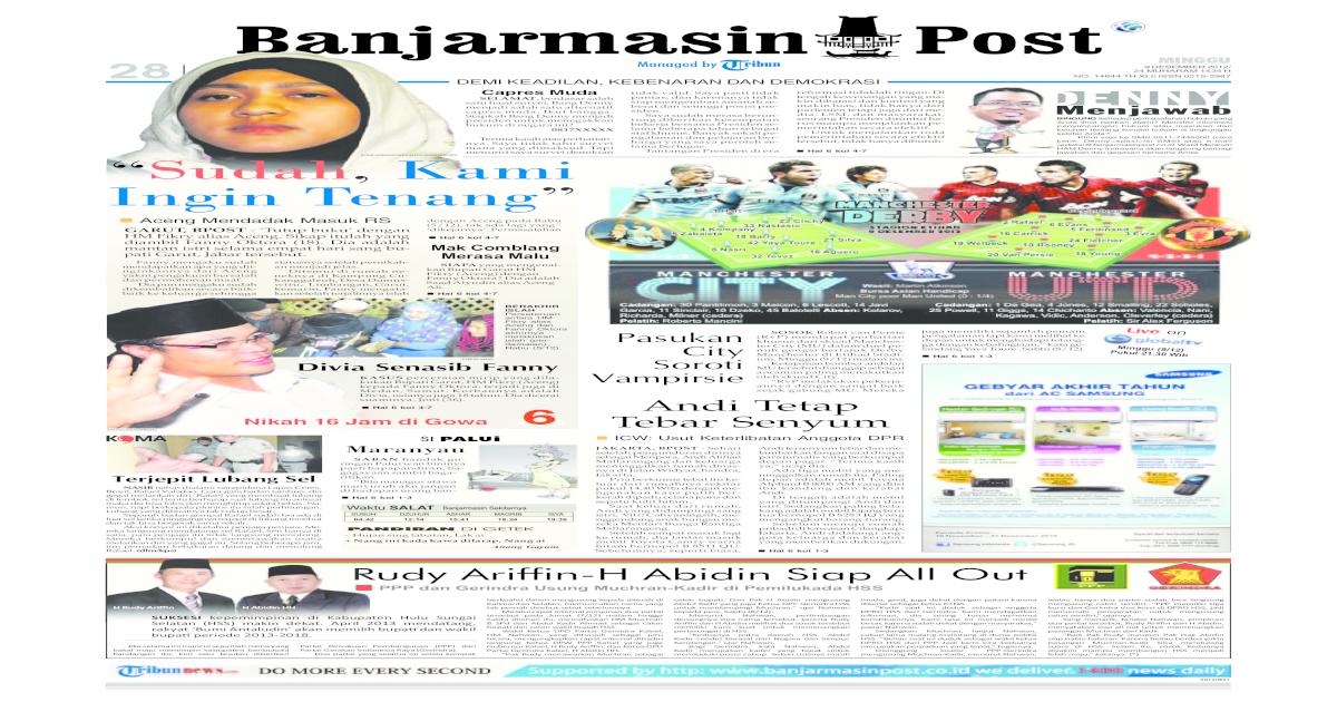Banjarmasin Post edisi Minggu, 9 Desember 2012