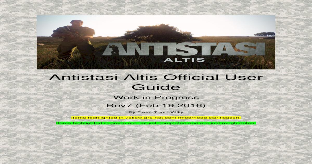 Antistasi Altis Official User Guide - Manual v8 pdf2016-04