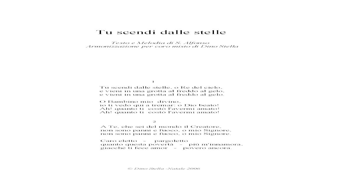 TESTO TU SCENDI DALLE STELLE SCARICARE