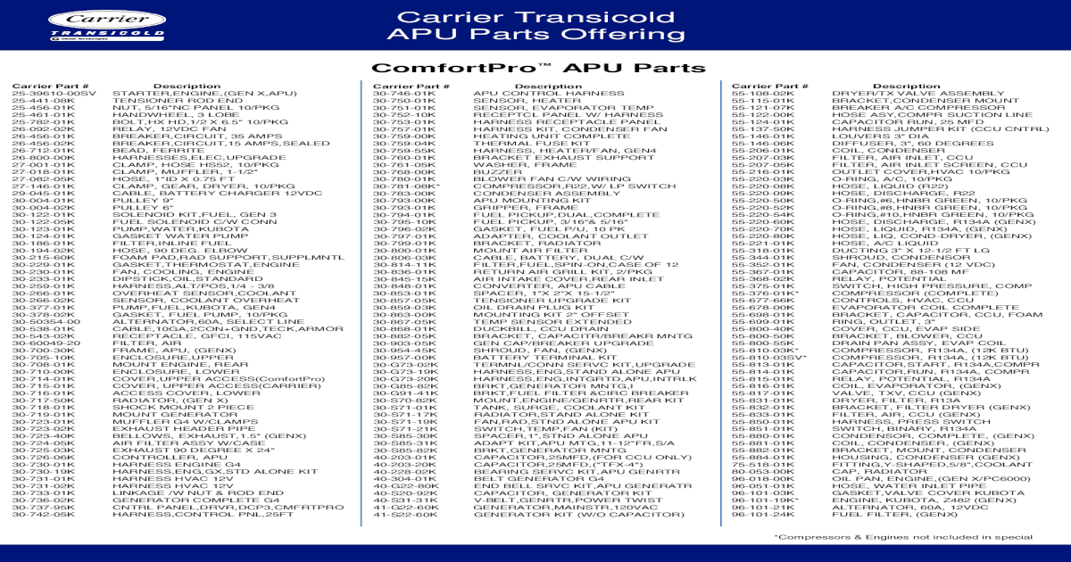 Carrier Transicold APU Parts Offering - dms  ? 20-44-8400 44