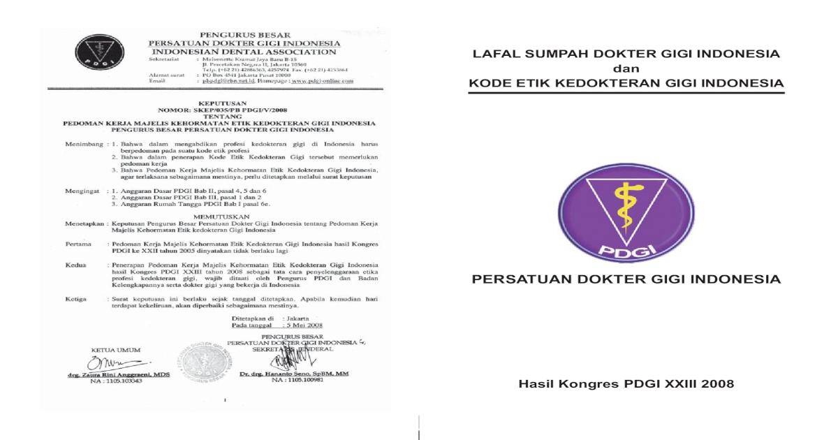 Lafal Sumpah Dokter Gigi Indonesia Dan Surabaya Kode Etik