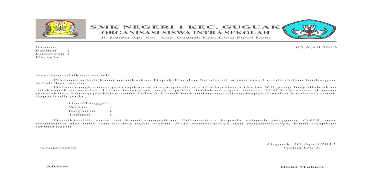 Surat Undangan Osis