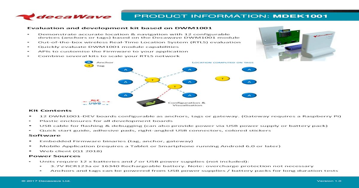 PRODUCT INFORMATION: MDEK1001 - DecaWave ?? Configure dev