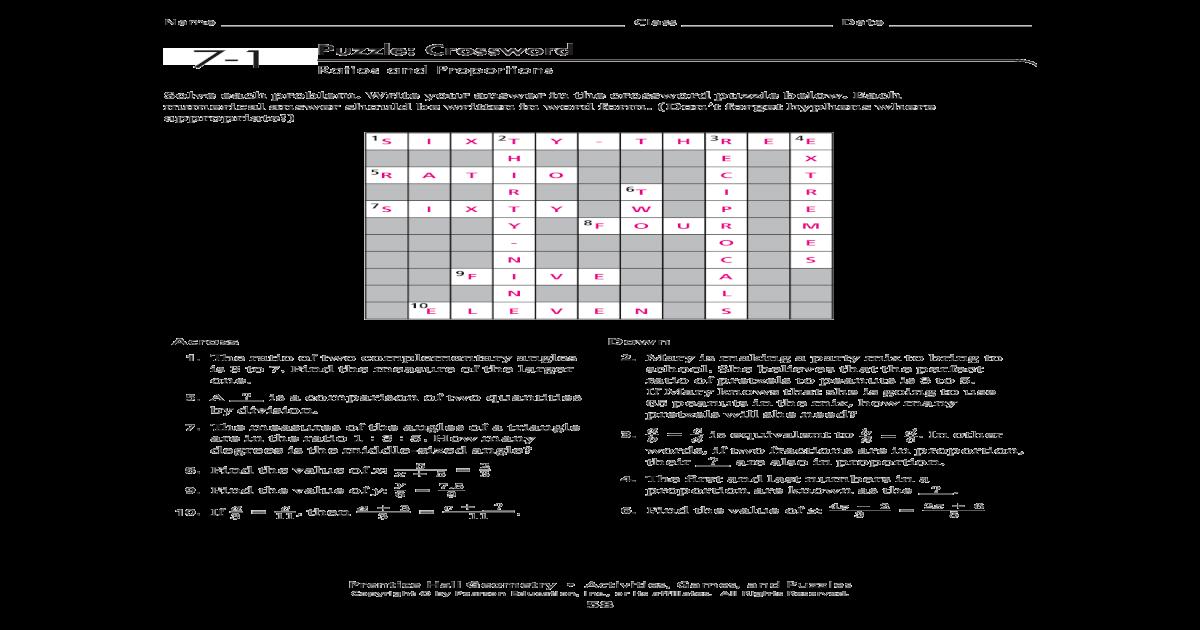 7-1 Puzzle: Crossword - Puzzle: Crossword Ratios and ...