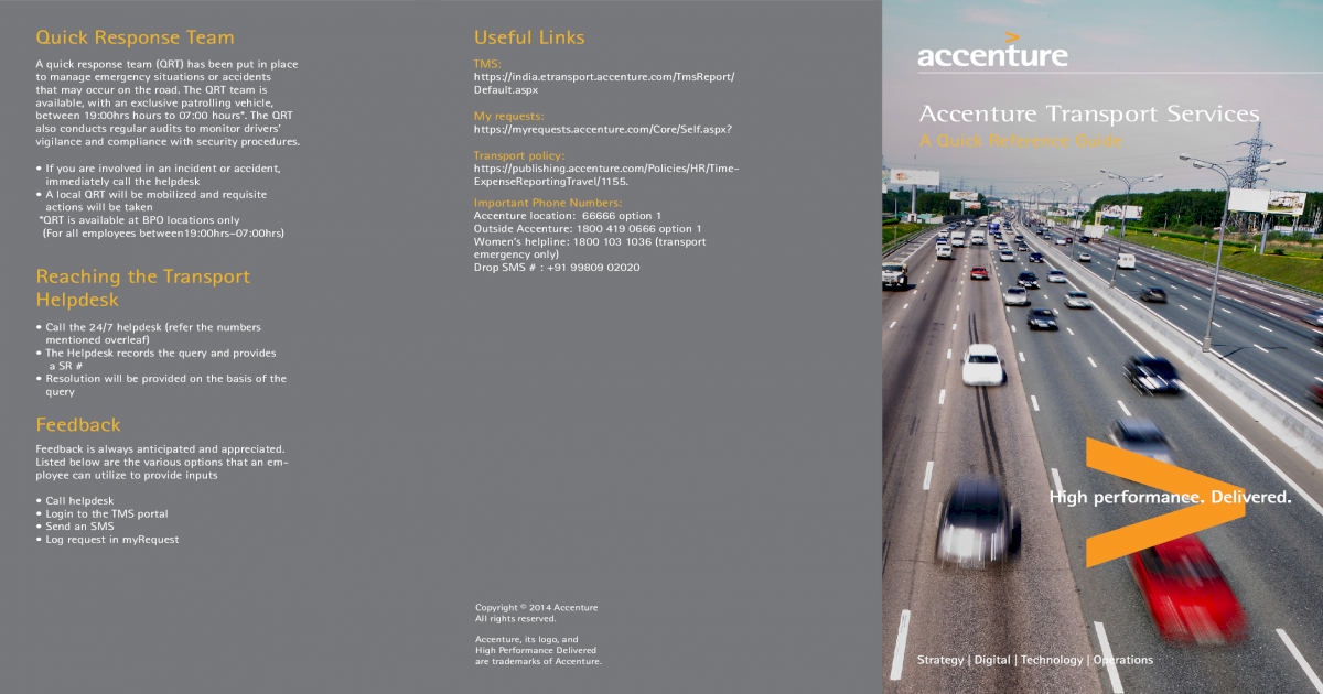 My requests: Accenture Transport Services Transport