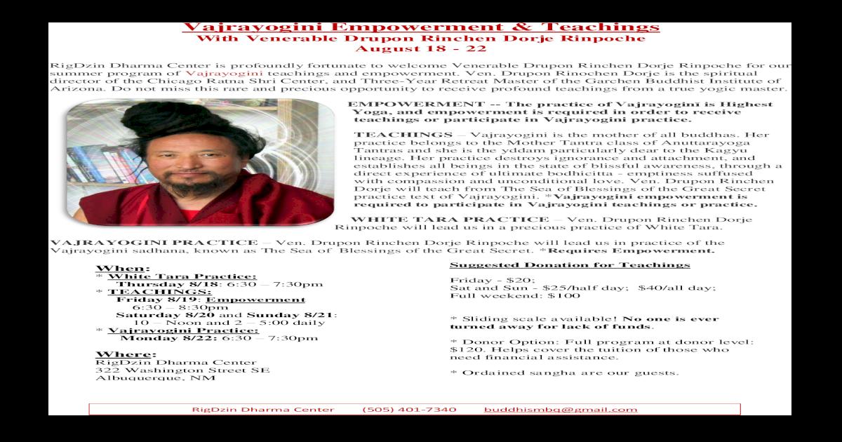 Vajrayogini Empowerment Empowerment Teachings With Venerable