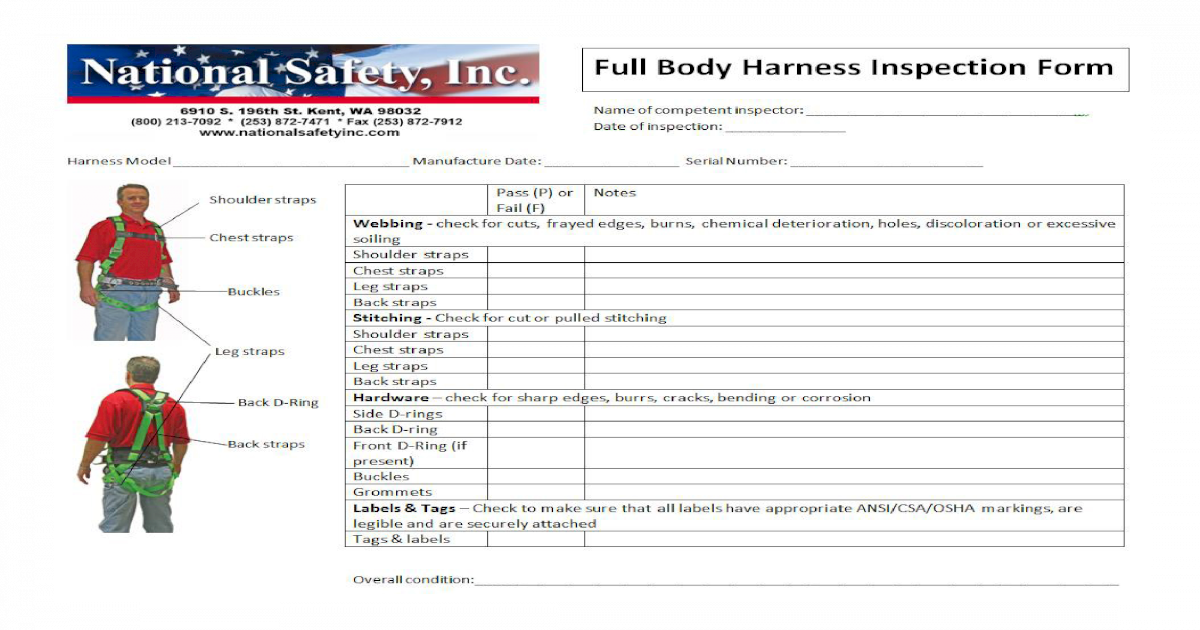 Full Body Harness Inspection Form