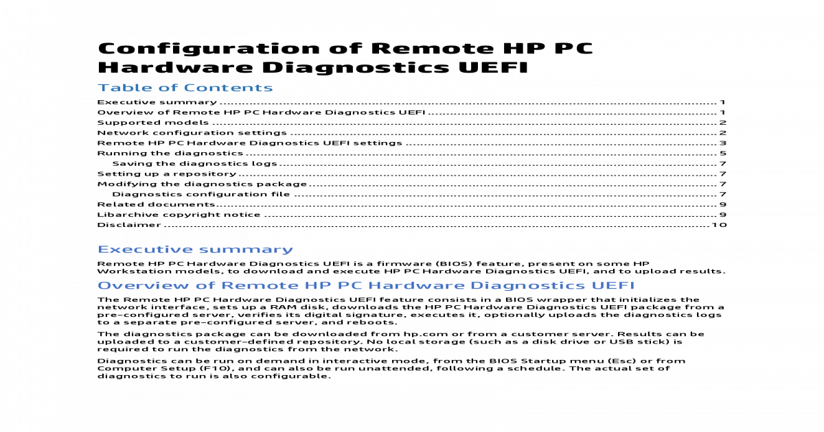 Configuration of Remote HP PC Hardware of Remote HP PC