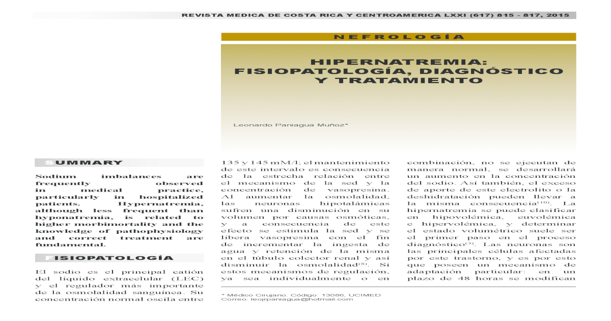 diabetes insípida hipernatremia hipovolémica