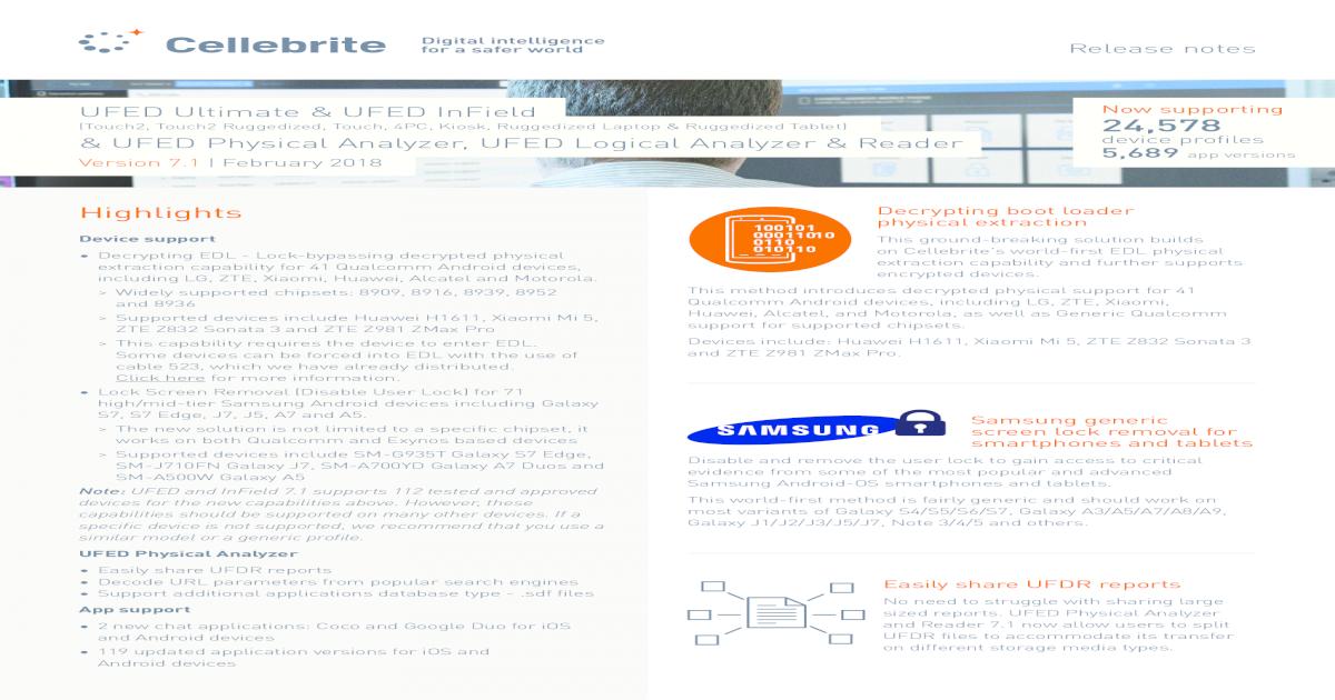 Highlights - Cellebrite Device support Decrypting EDL - Lock