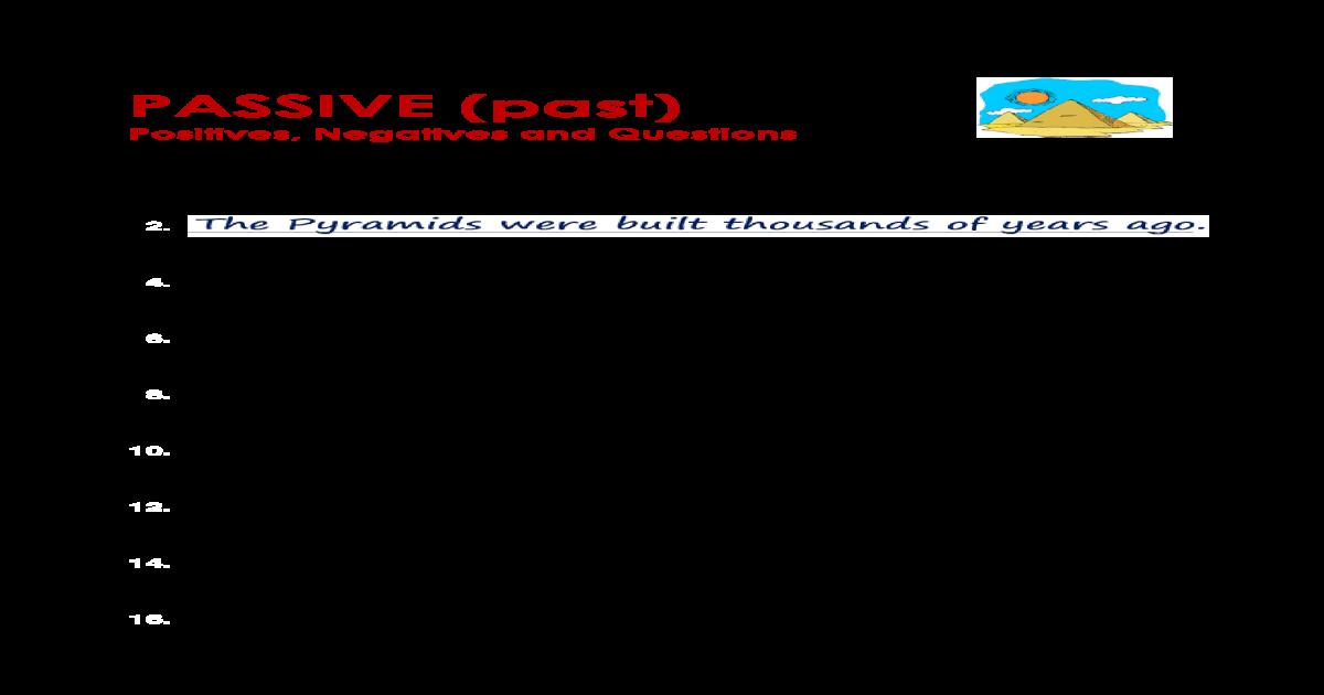 NAME: DATE: GRAMMAR WORKSHEET PASSIVE (past) .GRAMMAR WORKSHEET ALL Things Grammar  Grammar Focus