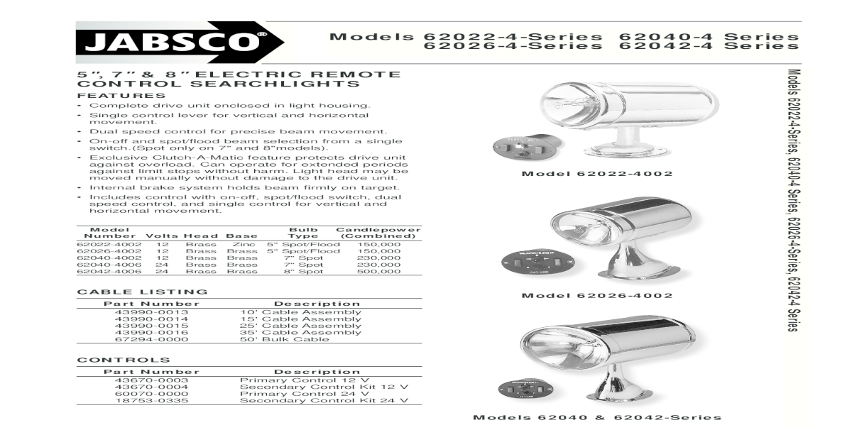 Models 62022-4-Series 62040-4 Series 62026-4 62022-4-Series ... on