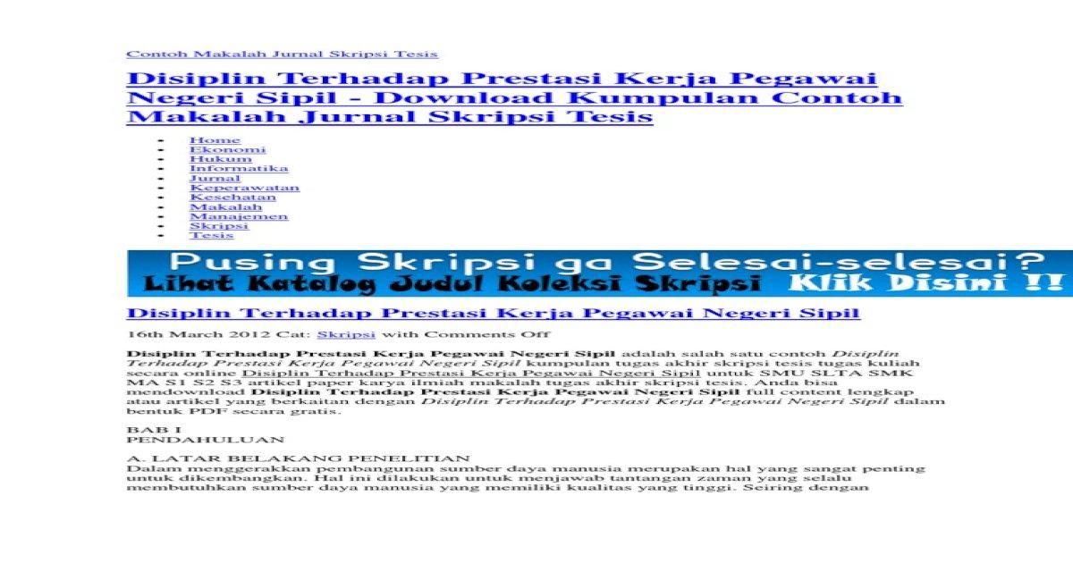 Contoh Makalah Jurnal Skripsi Tesis