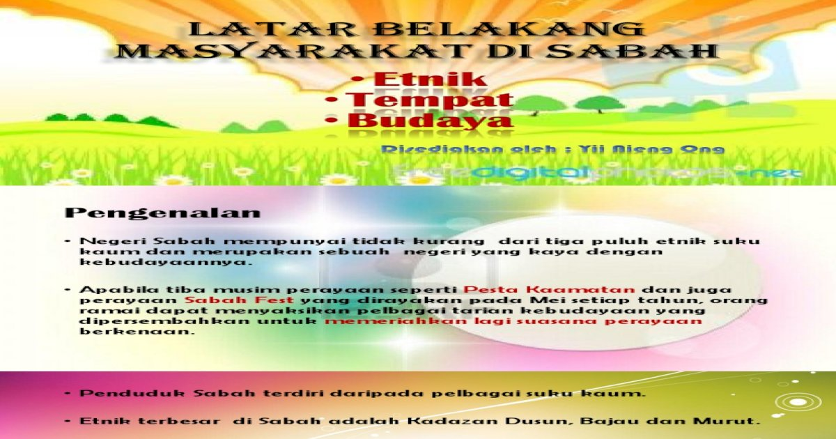 K1 Latar Belakang Masyarakat Di Sabah