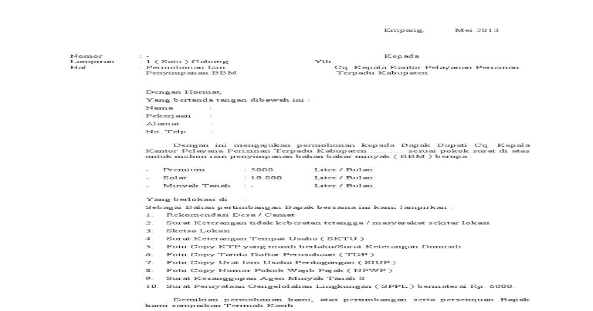 Contoh Surat Permohonan Mendirikan Pangkalan Gas Id Lif Co Id