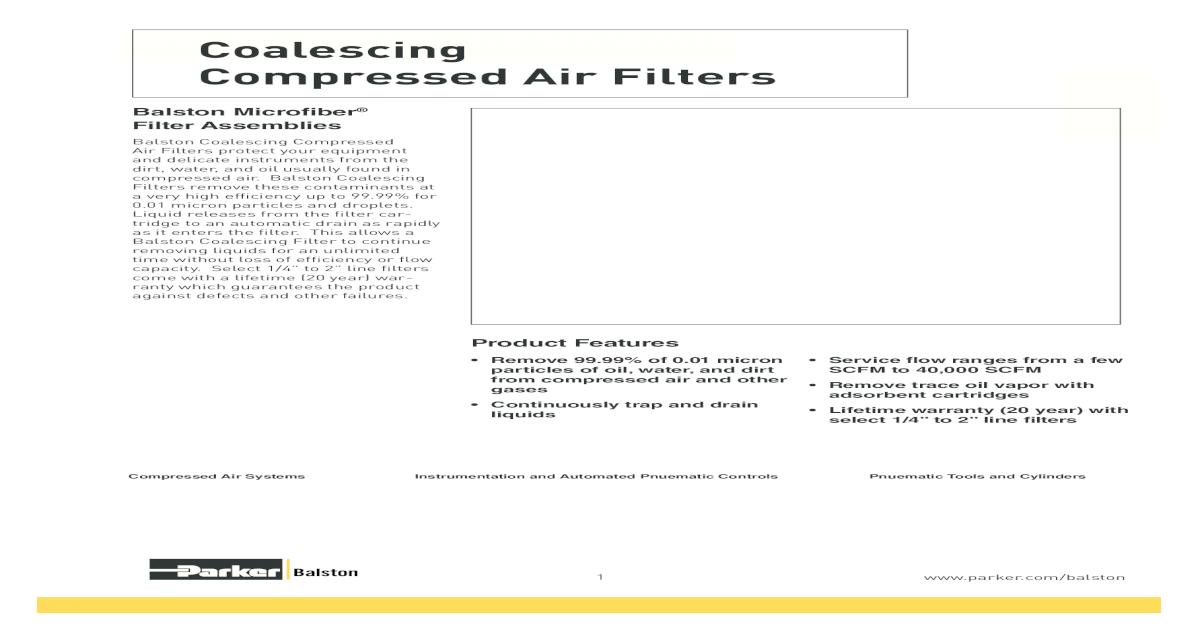 Coalescing Filter Element 186 SCFM