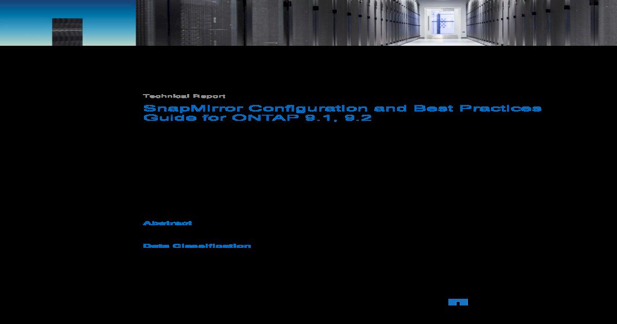 SnapMirror Configuration Best Practice ONTAP 9 1-9 - NetApp