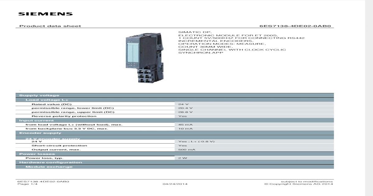 Siemens Simatic S7 ET200 1Count 5V//500kHz,6ES7 138-4DE02-0AB0,6ES7138-4DE02-0AB0