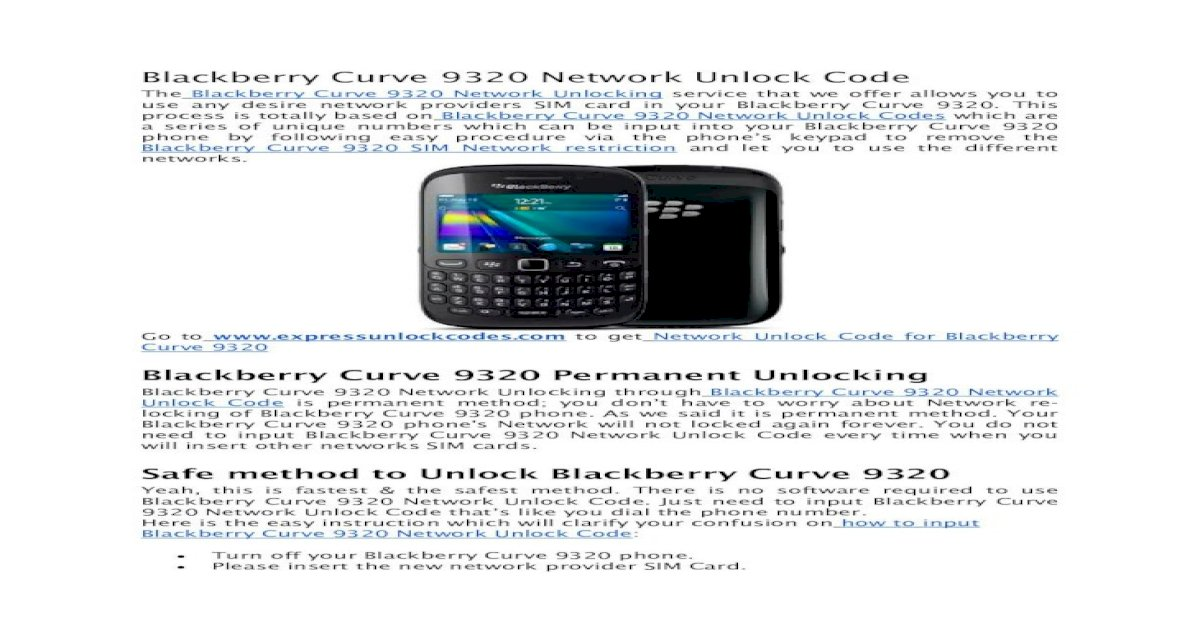 free mep code for blackberry curve 9320