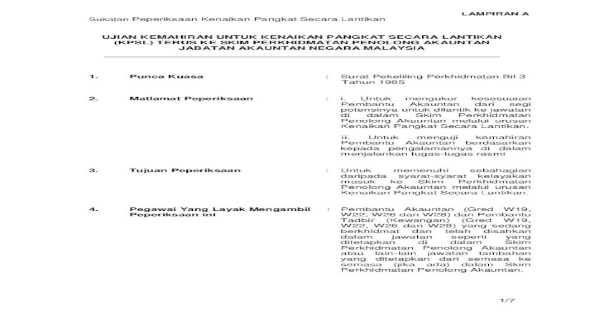 Ujian Kemahiran Untuk Kenaikan Pangkat Peperiksaan Lampiran A Sukatan Peperiksaan Kenaikan Pangkat Secara Lantikan 6 7 16 7 Surat Pekeliling Perbendaharaan 16 8 Surat Pekeliling Dan