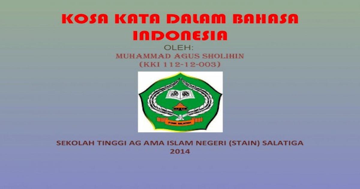 Kosa Kata dalam Bahasa Indonesia