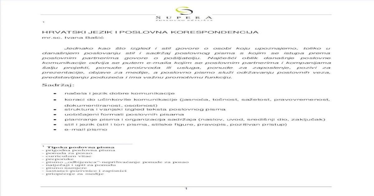 Ponuda poslovno primjer dopisivanje FF