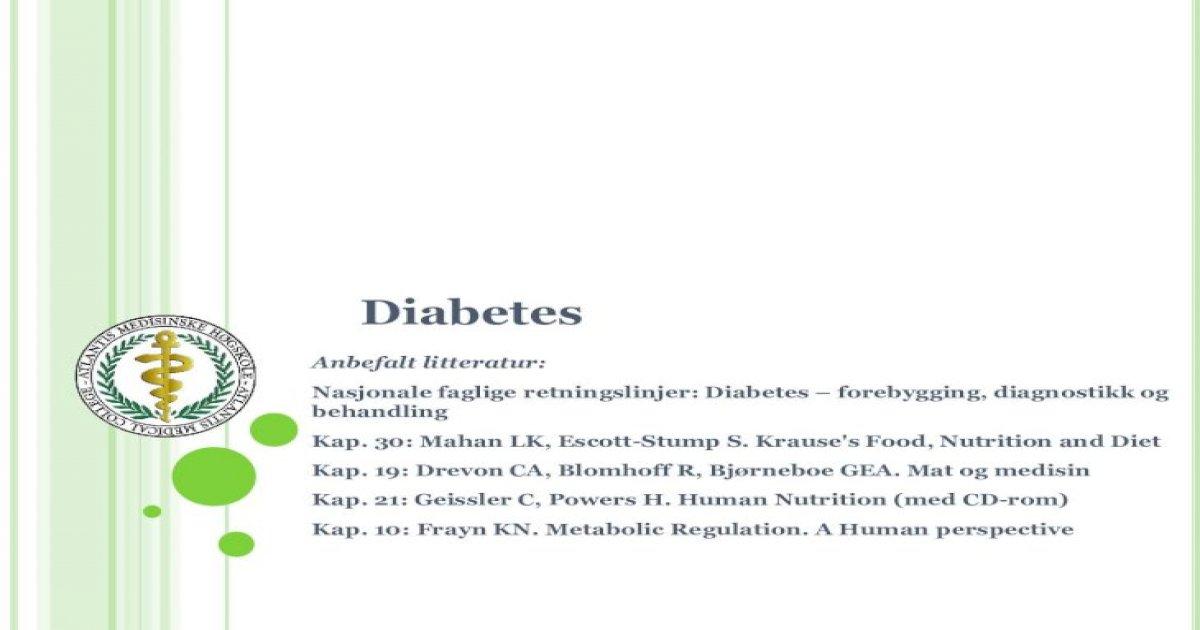 faglige retningslinjer diabetes mellitus