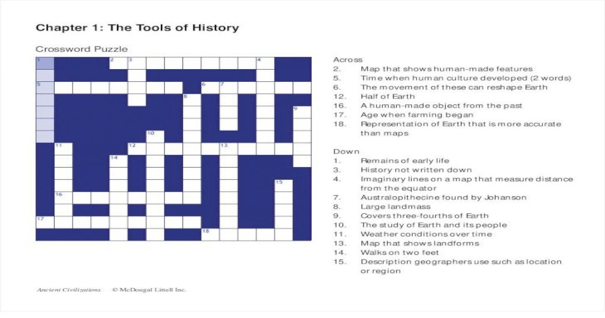 Chapter 1 The Tools Of History Crossword Puzzle The Best Picture History
