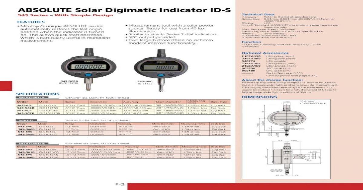 id-s gama 12,7/mm /781/absoluto Indicador Digimatic Mitutoyo 543/