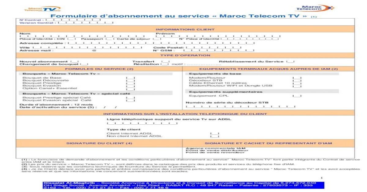 Formulaire d'abonnement au service « Maroc Telecom TVADSL ...