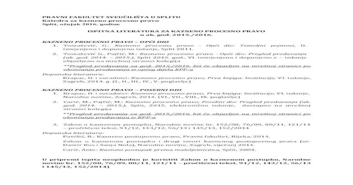 Ispitna Literatura Za Kazneno Procesno Pravo U Ak God Okonؤچanju Predavanja Iz Kpp A 3 Zakon O