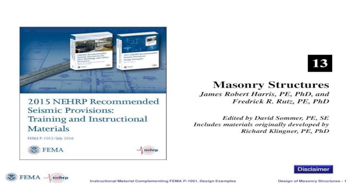 Masonry Structures Cdn Ymaws Com Masonry Design Instructional Material Complementing Fema P 1051