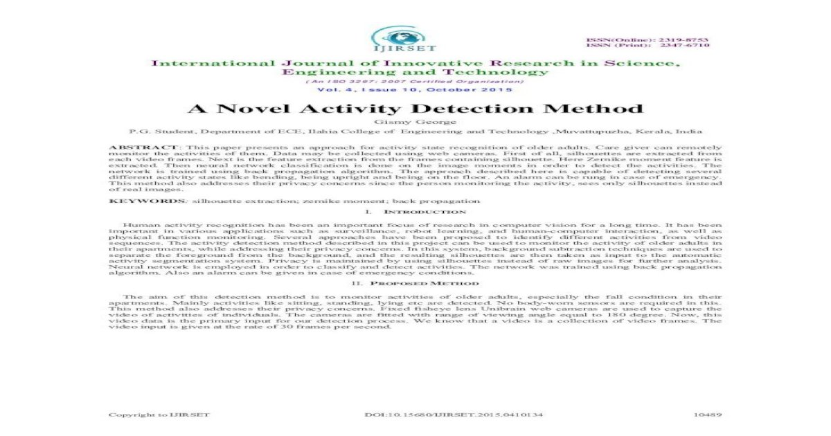 134 A Novel - Novel.pdf A Novel Activity Detection Method Gismy George P.G.  Student, Department