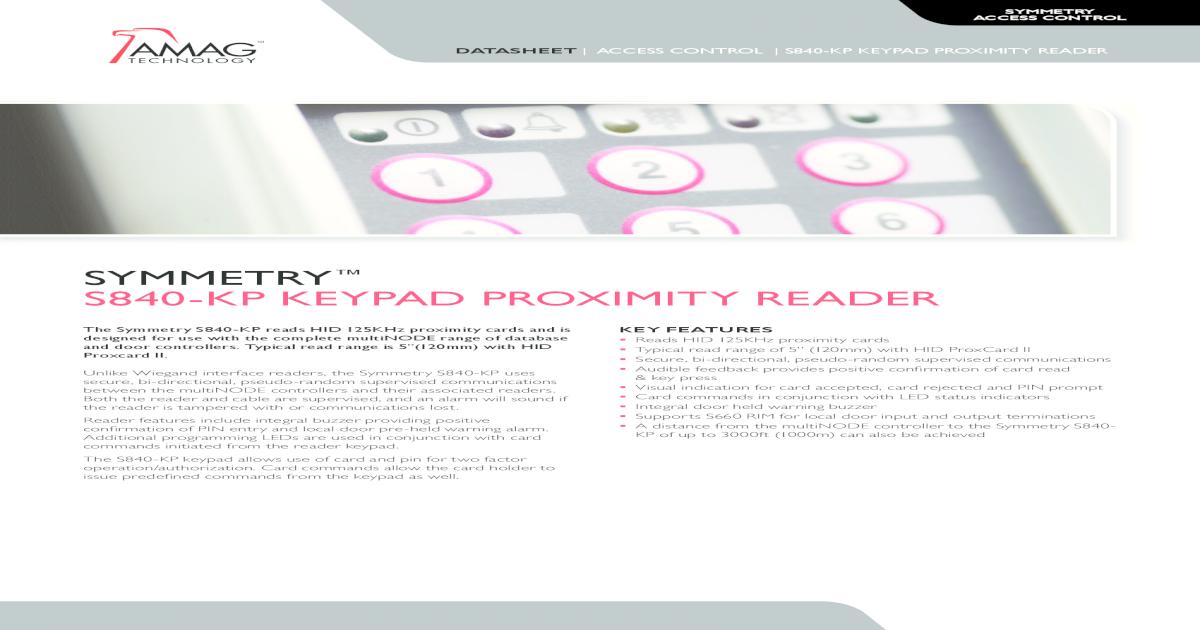 PROXIMITY CARD READER /& KEYPAD 840-KP-CG