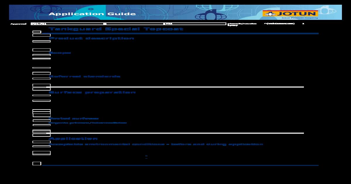 Technical Data Sheet Application Guide Tankguard Special Topcoat