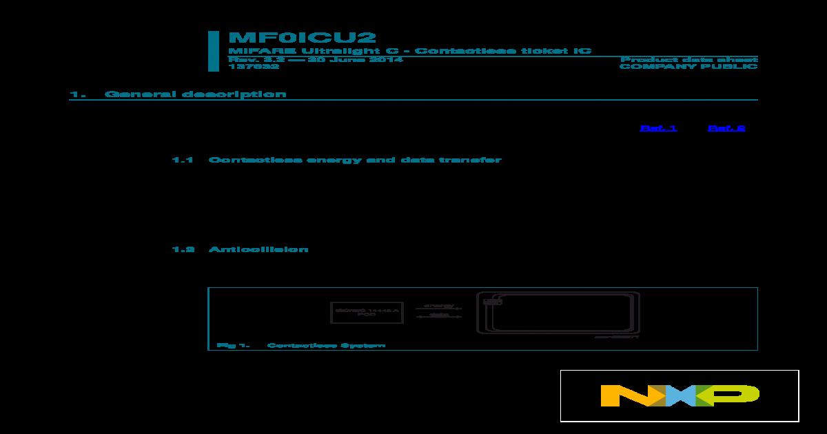 MF0ICU2 MIFARE Ultralight C - Contactless ticket IC